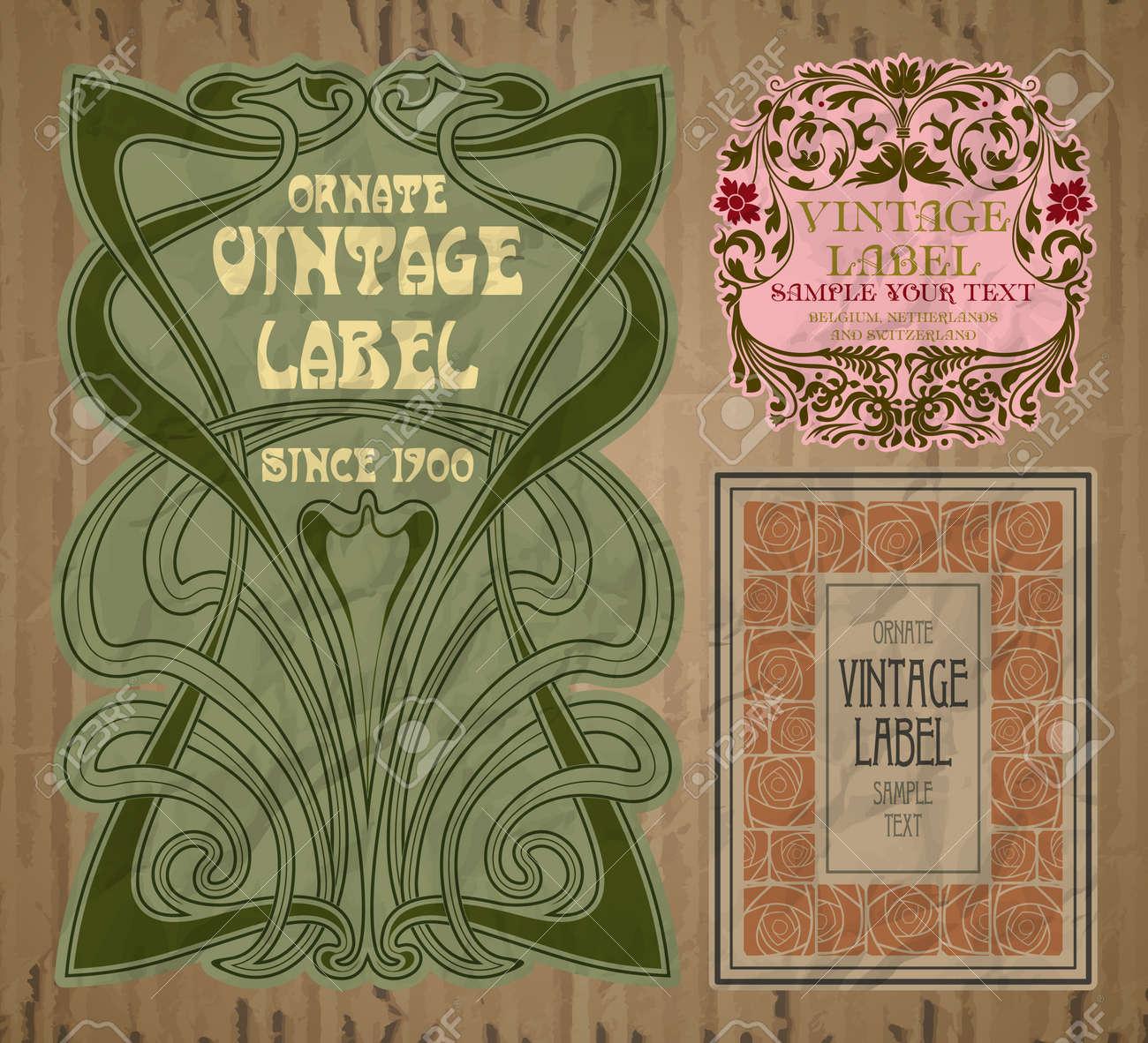 vector vintage items: label art nouveau - 165729539