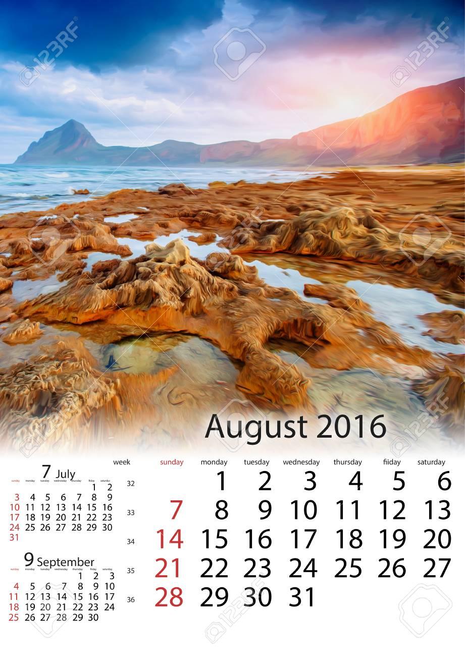 Calendario Panorama.Calendario Agosto 2016 Panorama Della Primavera Della Citta Trapany Della Costa Di Mare