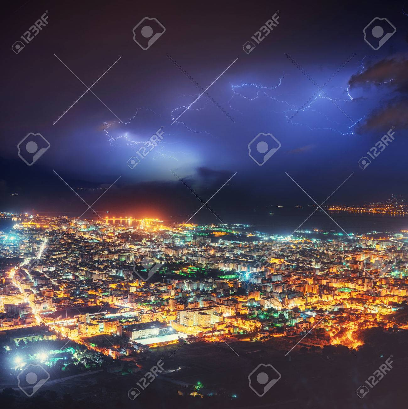 Night Lights Of The Coastal City From The Height Stock Photo   72038492
