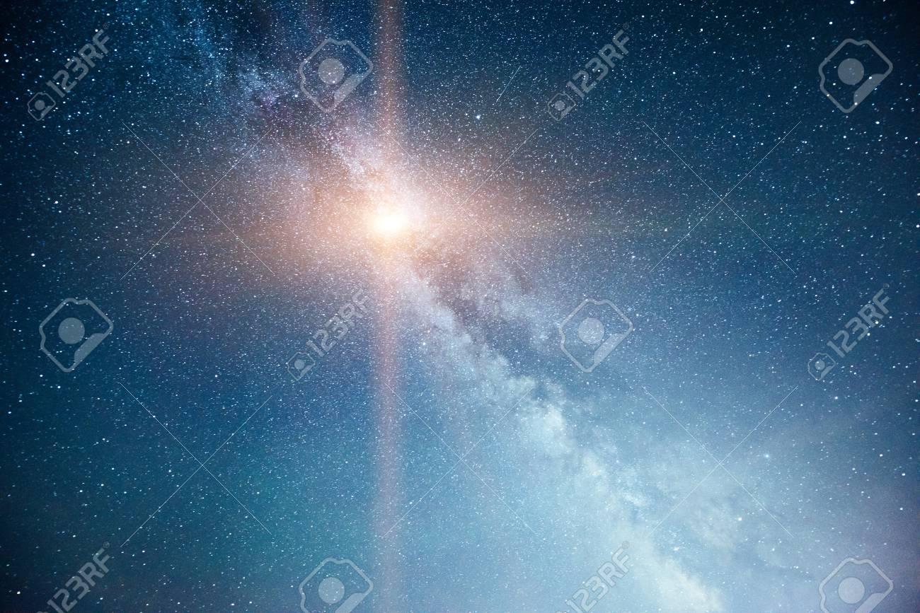 Vibrant night sky with stars and nebula and galaxy. Deep sky astrophoto - 86805703