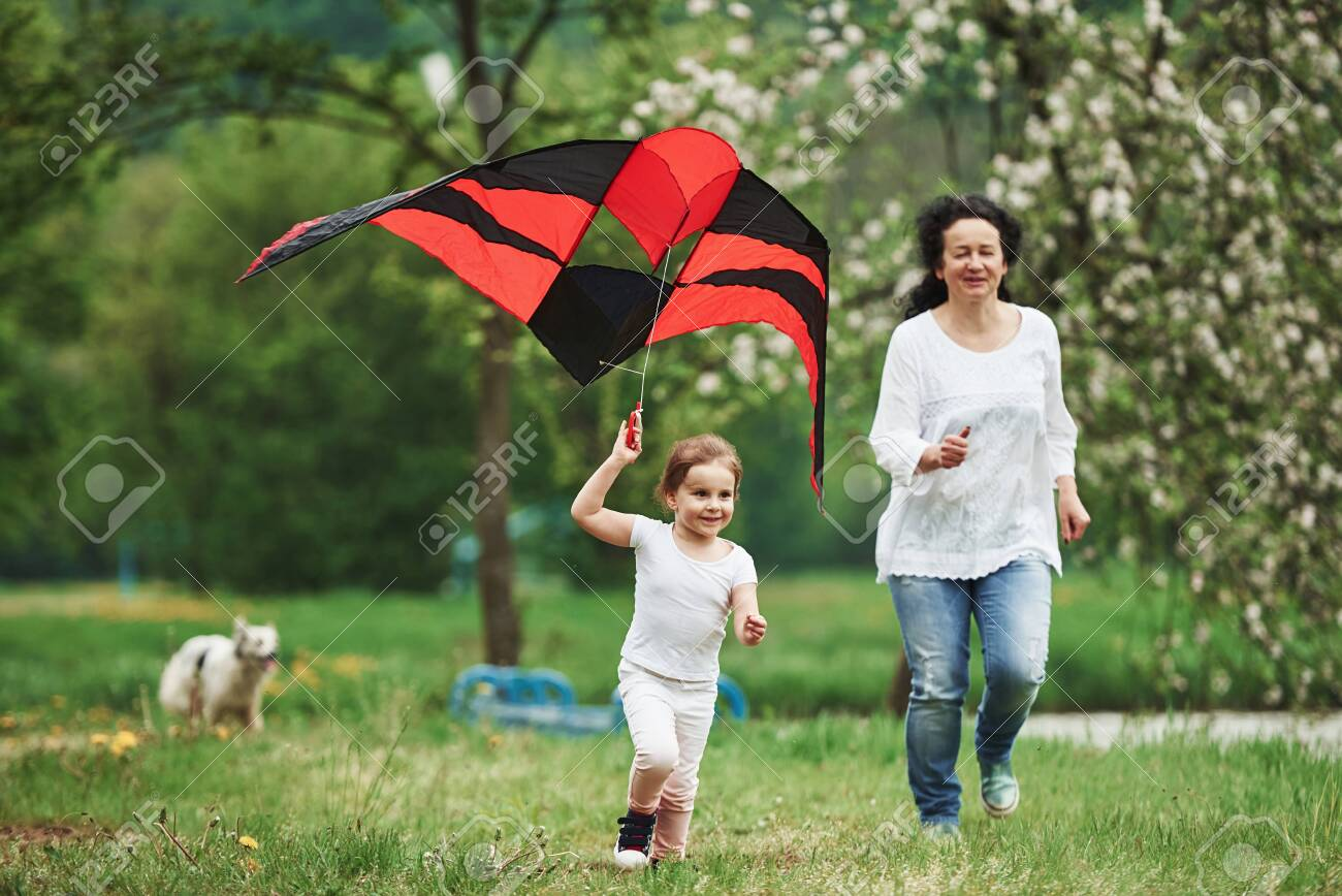Dog is at background. Positive female child and grandmother running with red and black colored kite in hands outdoors. - 135317693