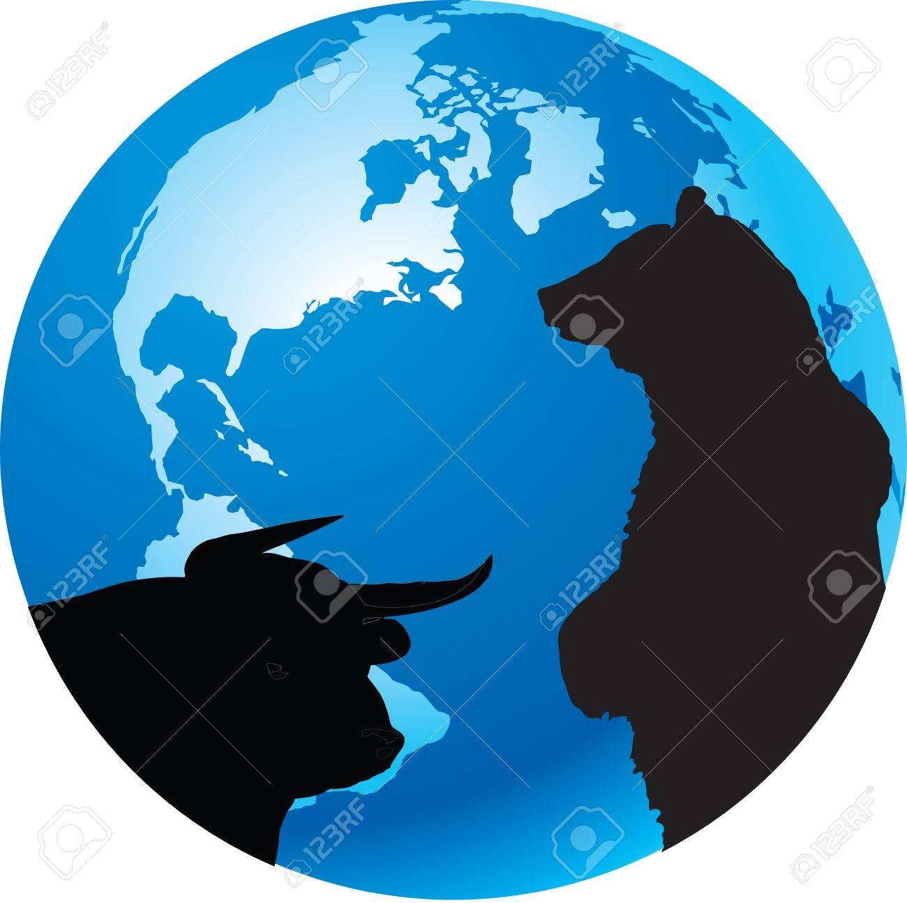 Bull And Bear Symbols Of World Economy Royalty Free Cliparts