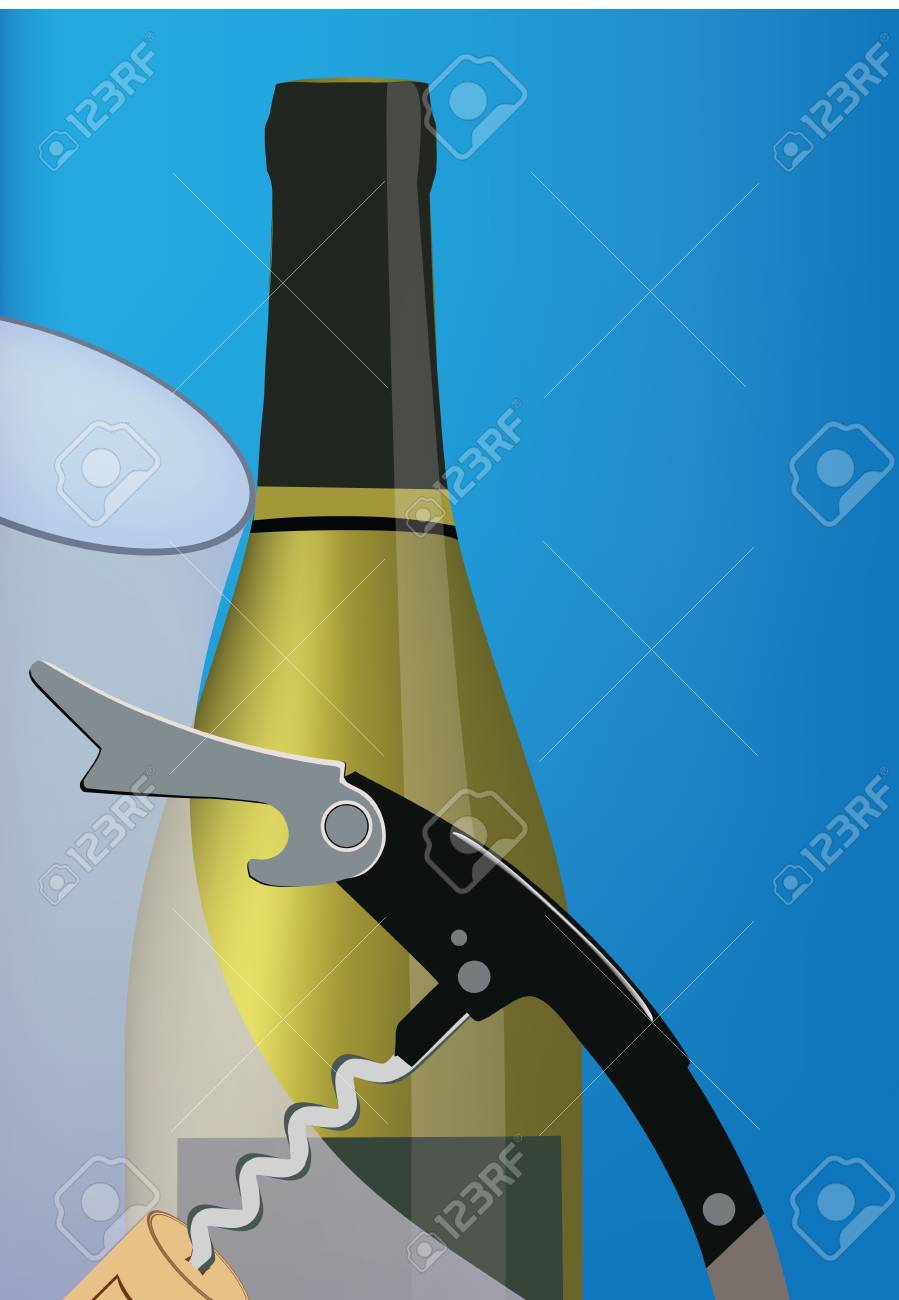 bottle of wine and corkscrew Stock Vector - 20169165