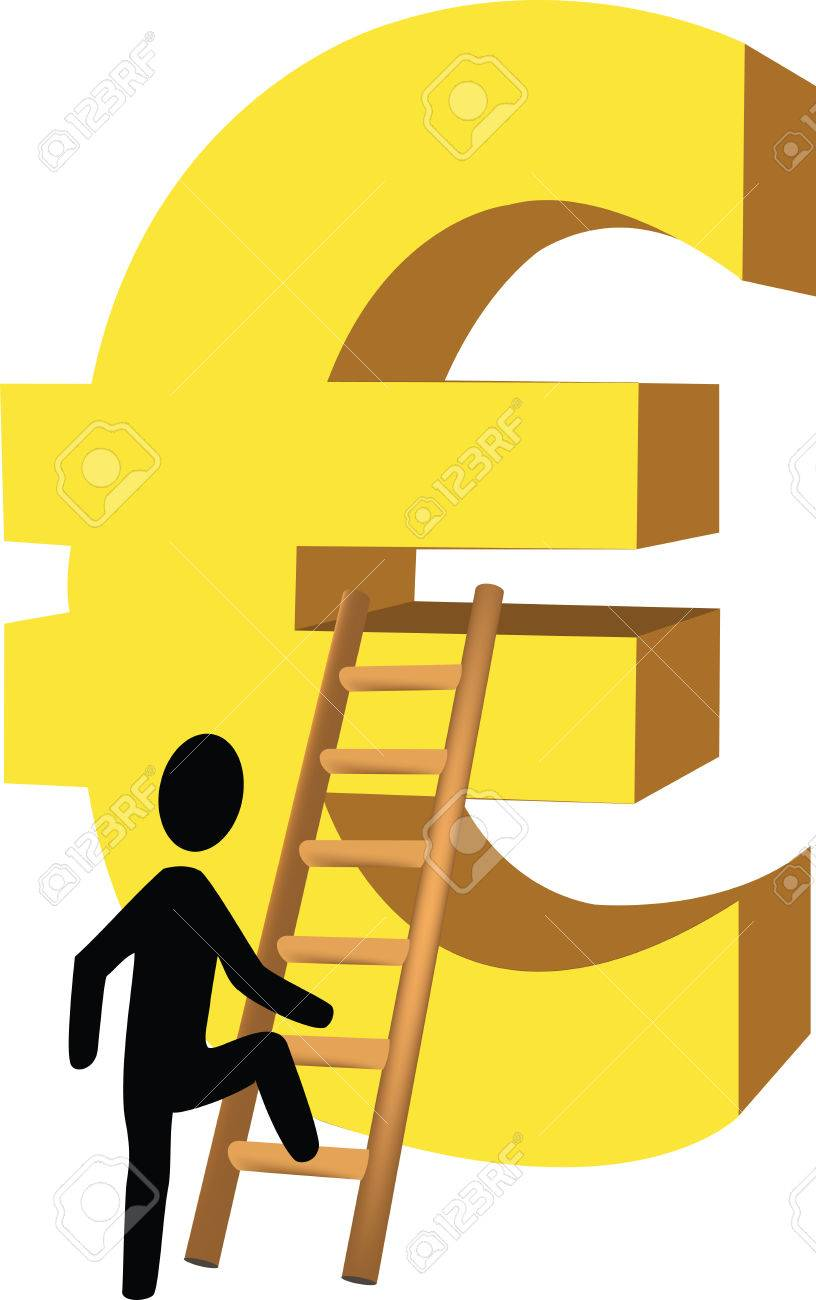 Scale The Euro Little Man Climbs The Ladder With The Euro Symbol
