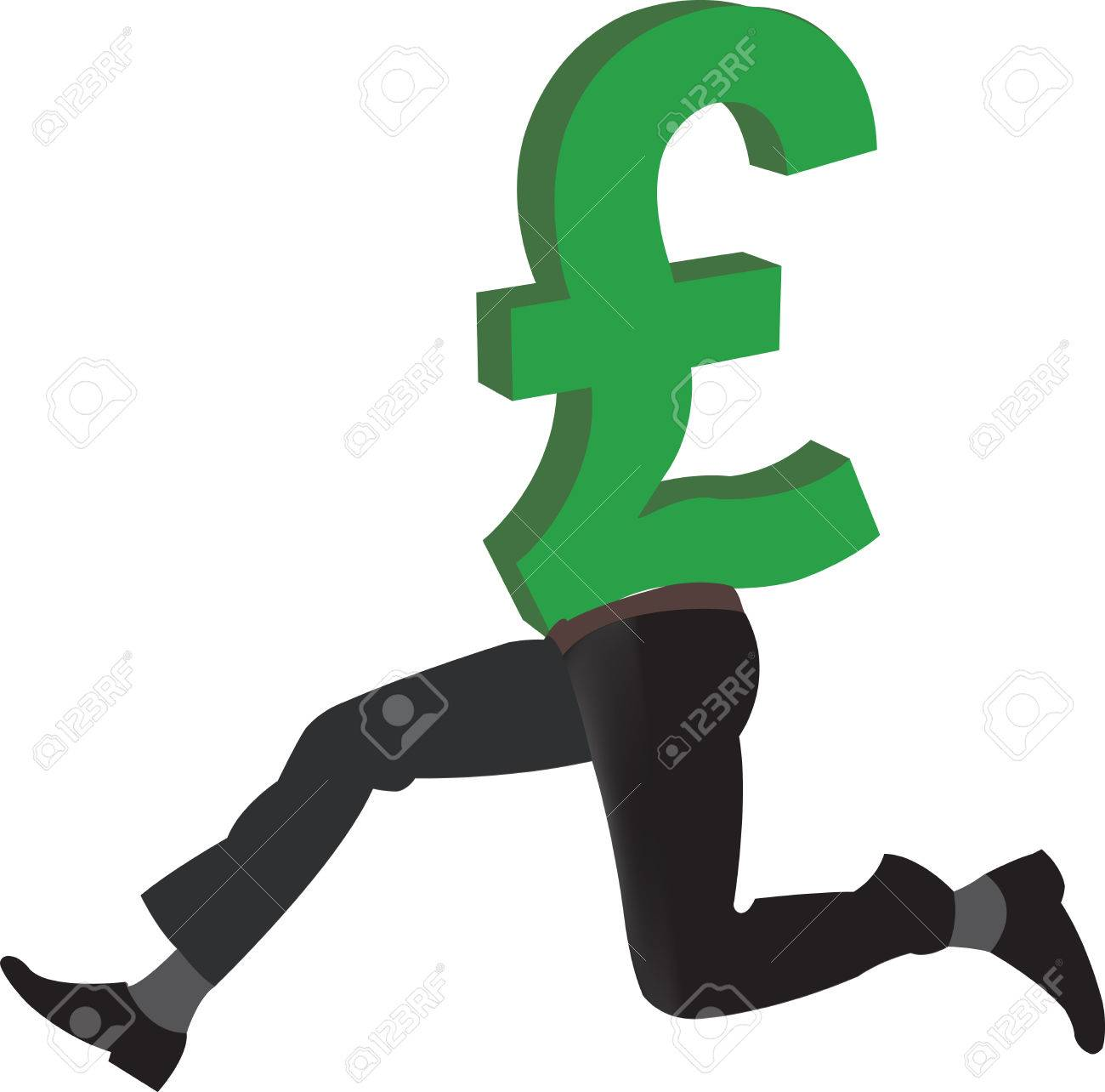 British Pound Currency Symbol With Legs Royalty Free Cliparts