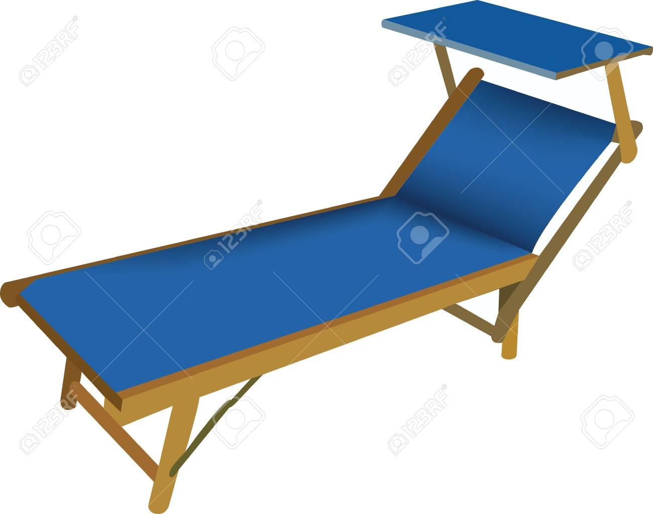 Sedie A Sdraio Da Mare.Vettoriale Sedia A Sdraio Da Spiaggia In Colore Blu Image 80876444