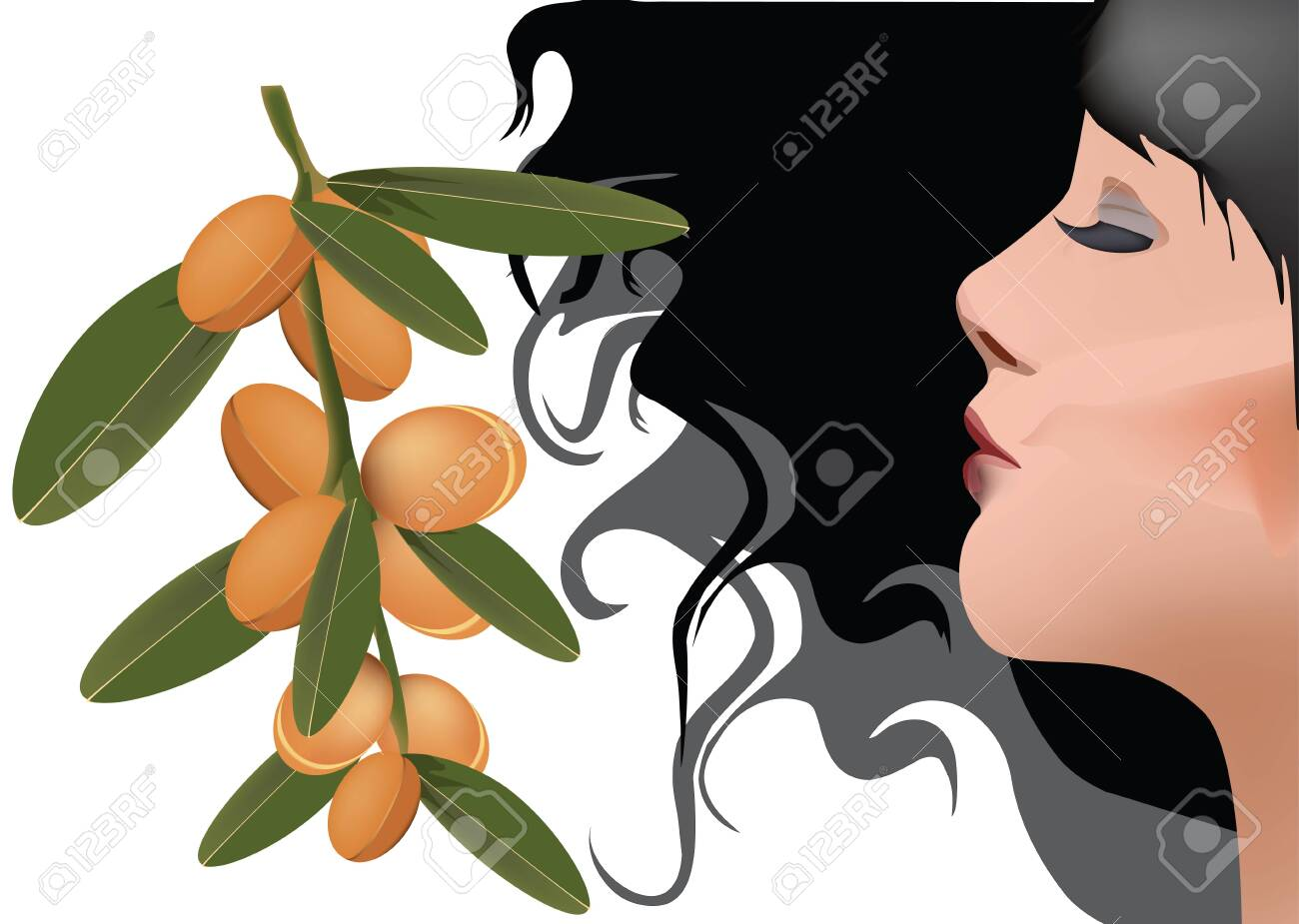 dark woman profile with fruits of aesthetic argan - 149538345
