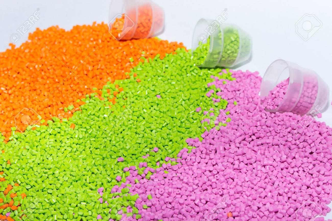 The plastic granules. Polymeric dye orange, green and pink . Dye for plastics in granules . - 78206801