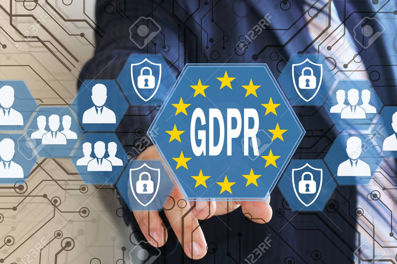 The businessman chooses the GDPR on the touch screen .General Data Protection Regulation concept . - 92732161