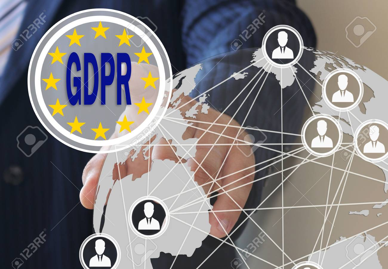 The businessman chooses the GDPR on the touch screen. General Data Protection Regulation. The concept of familiarization of people with the GDPR - 93363322