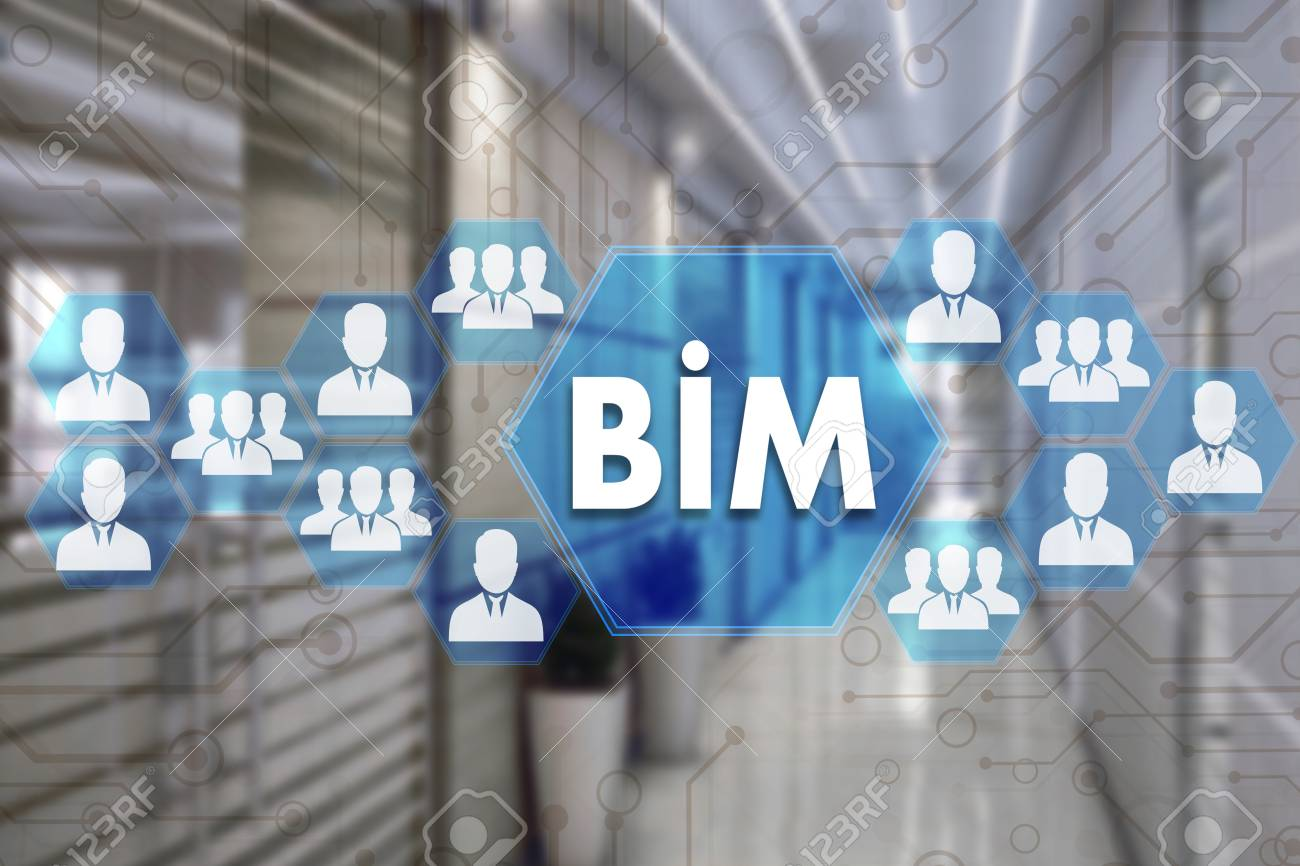 Building Information Modeling. BIM on the touch screen with a blur background of the office.The concept of Building Information Model BIM - 97479167