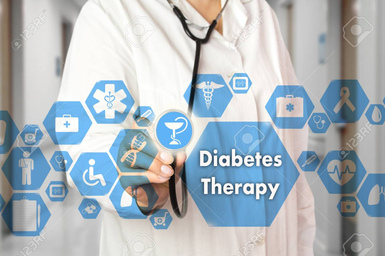 Medical Doctor with stethoscope and Diabetes Therapy icon in Medical network connection on the virtual screen on hospital background.Technology and medicine concept. - 97737216