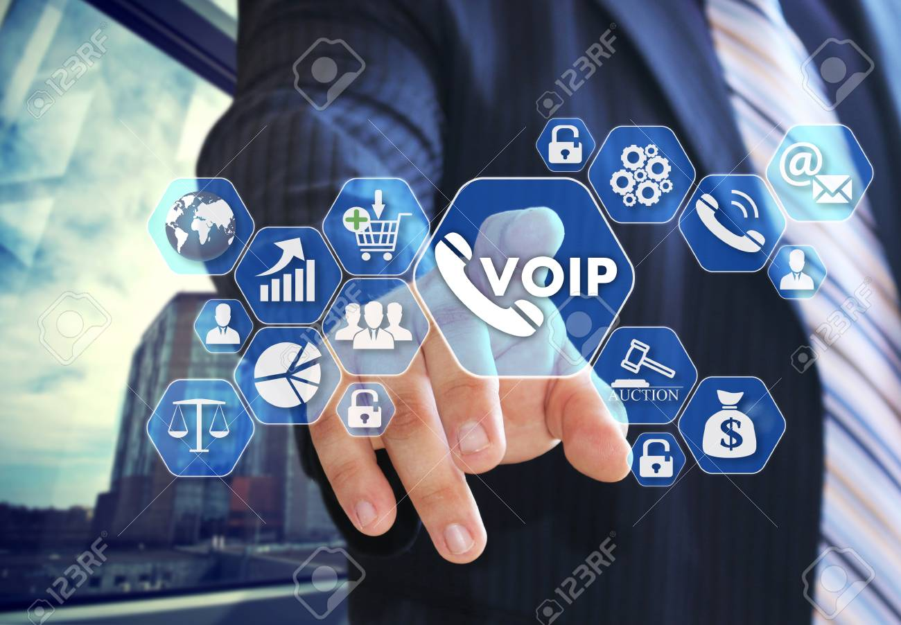 The businessman chooses VOIP on the virtual screen in social network connection. - 97737229