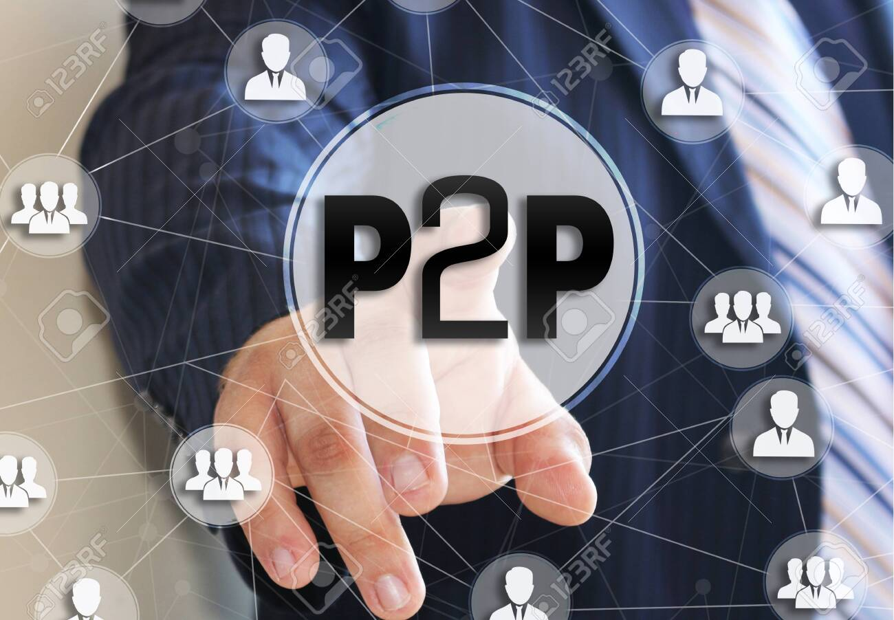 The businessman chooses the P2P, Peer to peer on a touch screen. Peer to peer lending concept. - 125076679