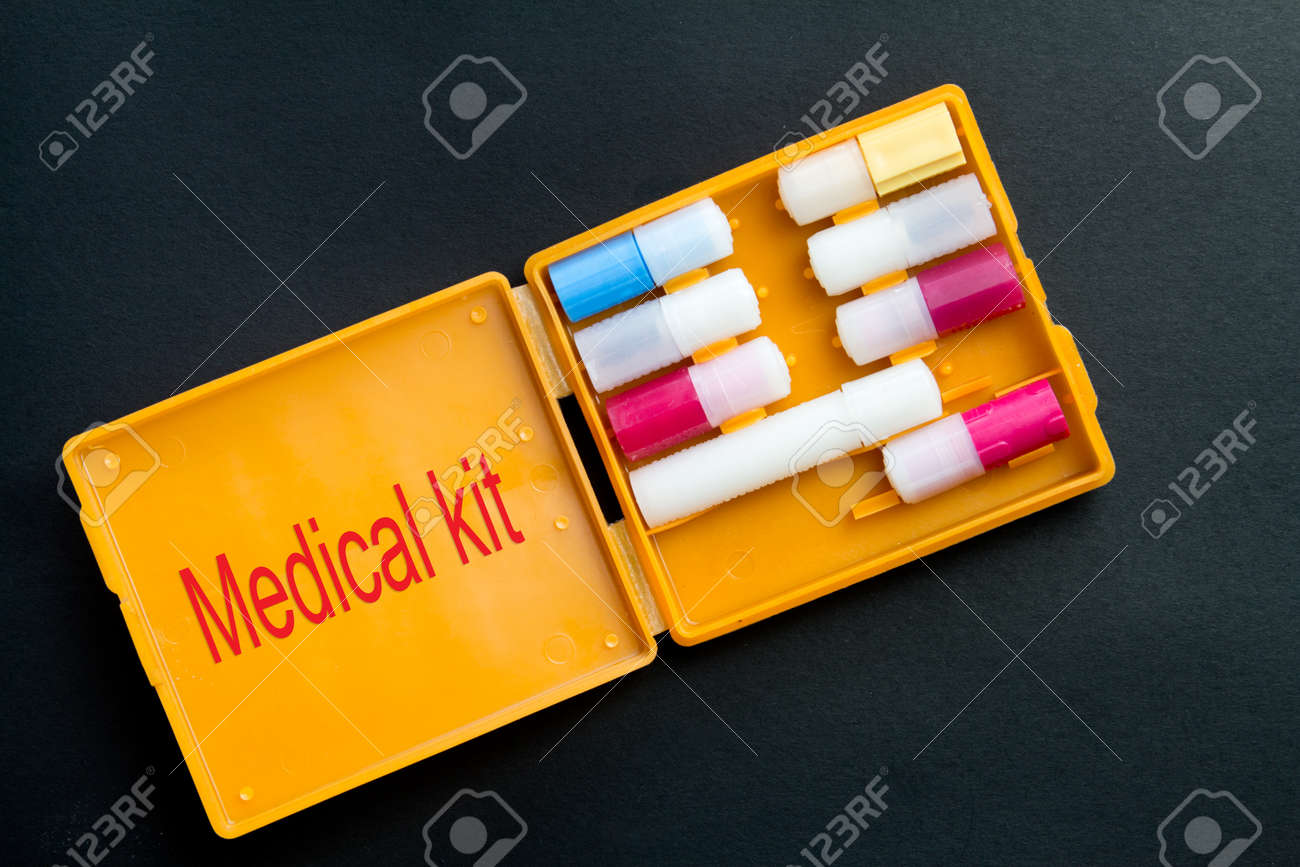 First aid kit with personal protective equipment. Anti-chemical, antibacterial, antiviral, antiseptic means of protection - 150324357