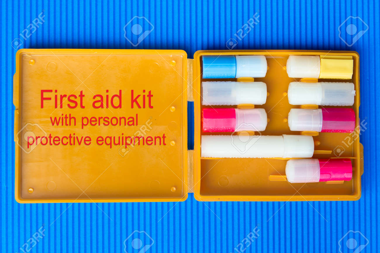 First aid kit with personal protective equipment. Anti-chemical, antibacterial, antiviral, antiseptic means of protection - 150324361