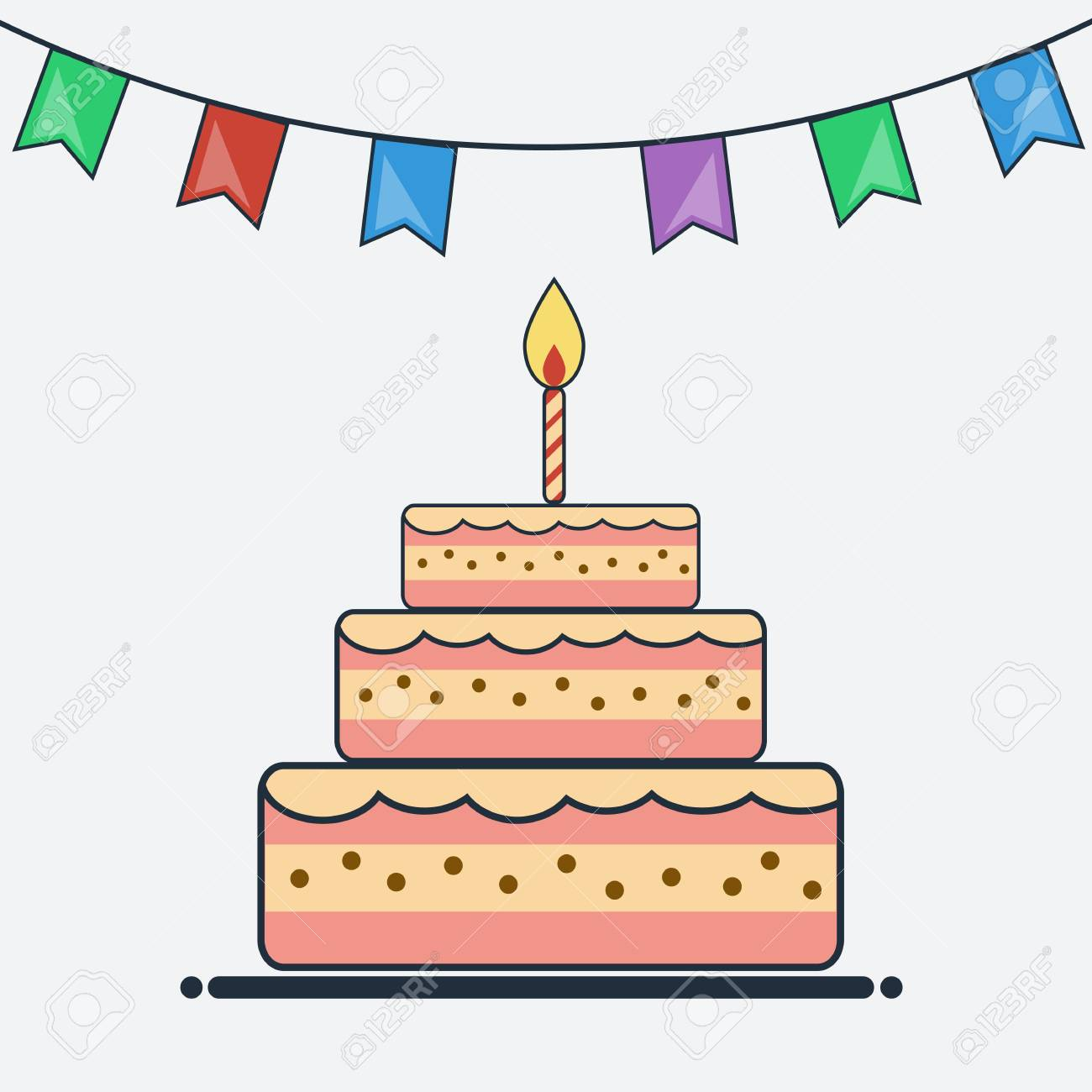 birthday cake and bunting flags flat design. cake icon. creative