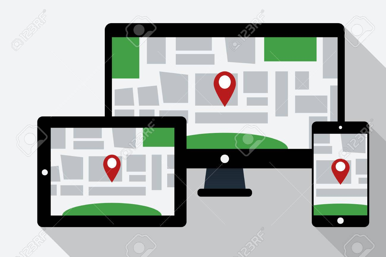 Computer Tablet PC And Mobile Phone With Online Navigation Map - Navigation map online