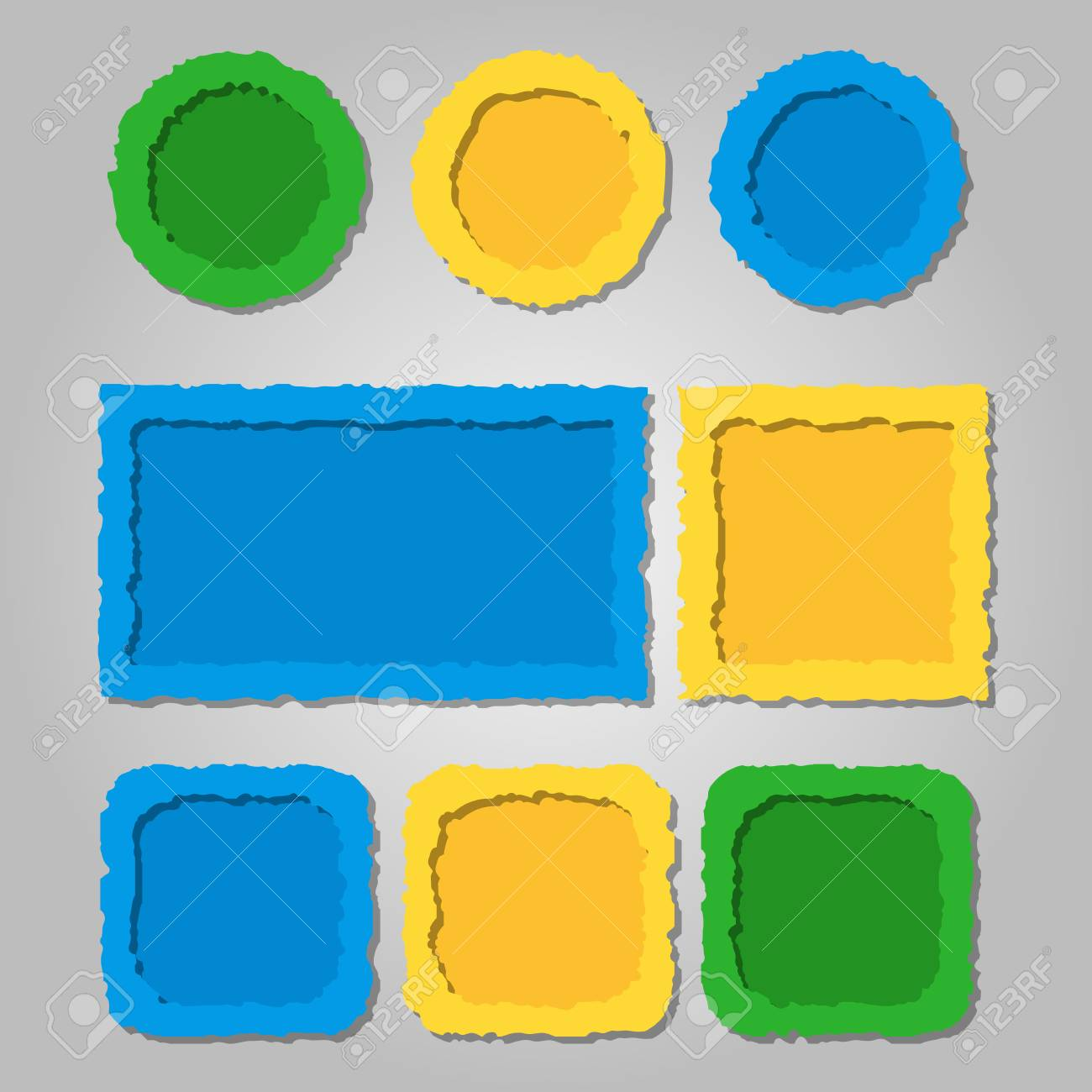 colored torn paper frames with shadows different shapes vector