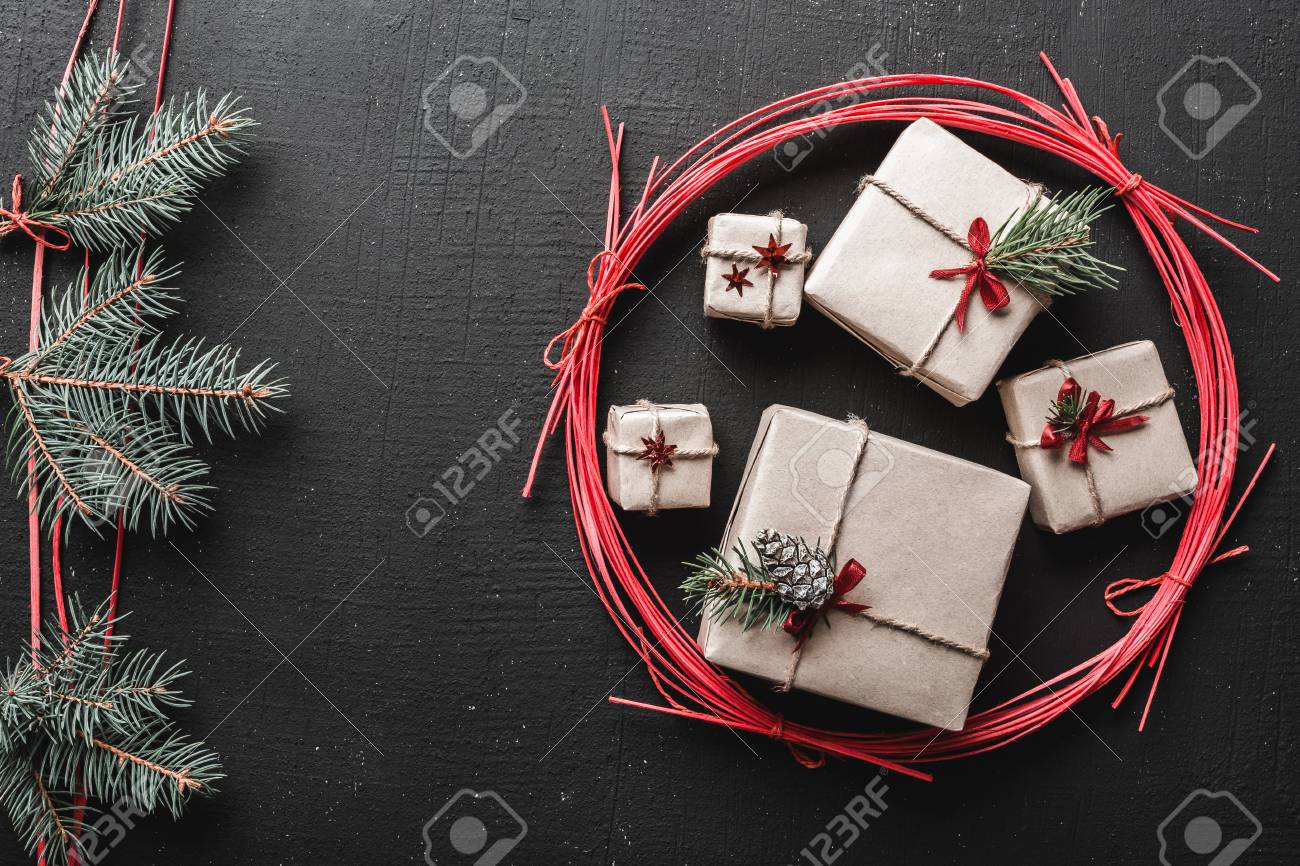 New Year Greeting Card And Christmas Space For A Message Of Stock