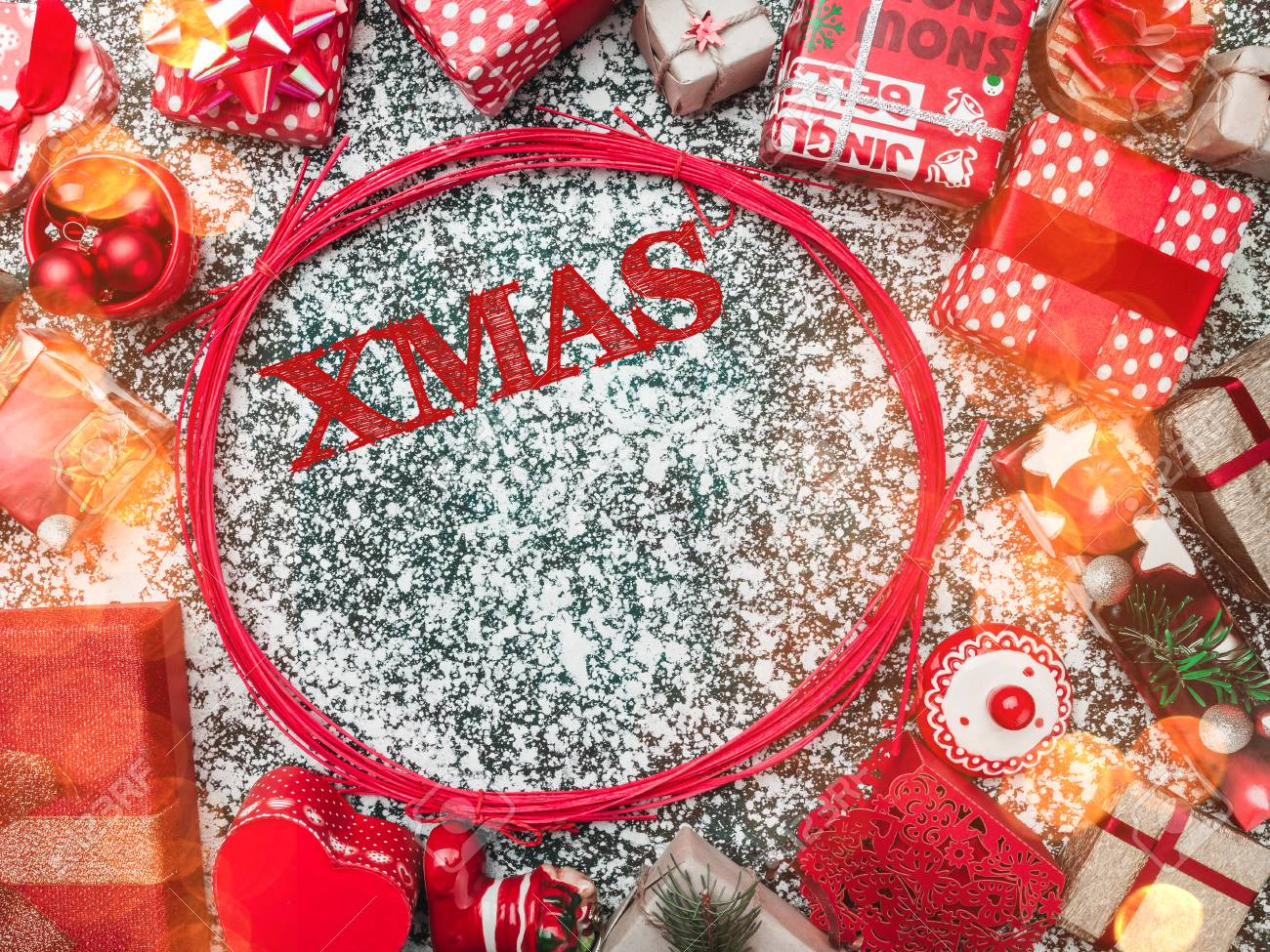 Balls With Merry Christmas Sign Inside And Handmade Decorative Toys