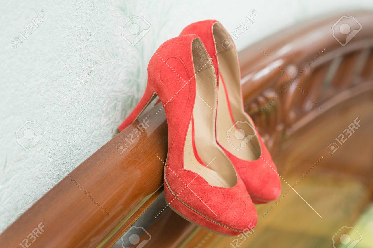 Coral Wedding Shoes On The Gatherings Of The Bride Stock Photo