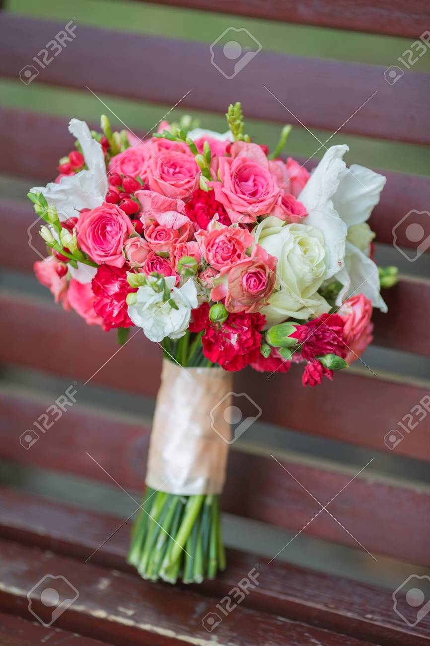 Bridal Beautiful Romantic Bouquet Of Various Flowers Stock Photo