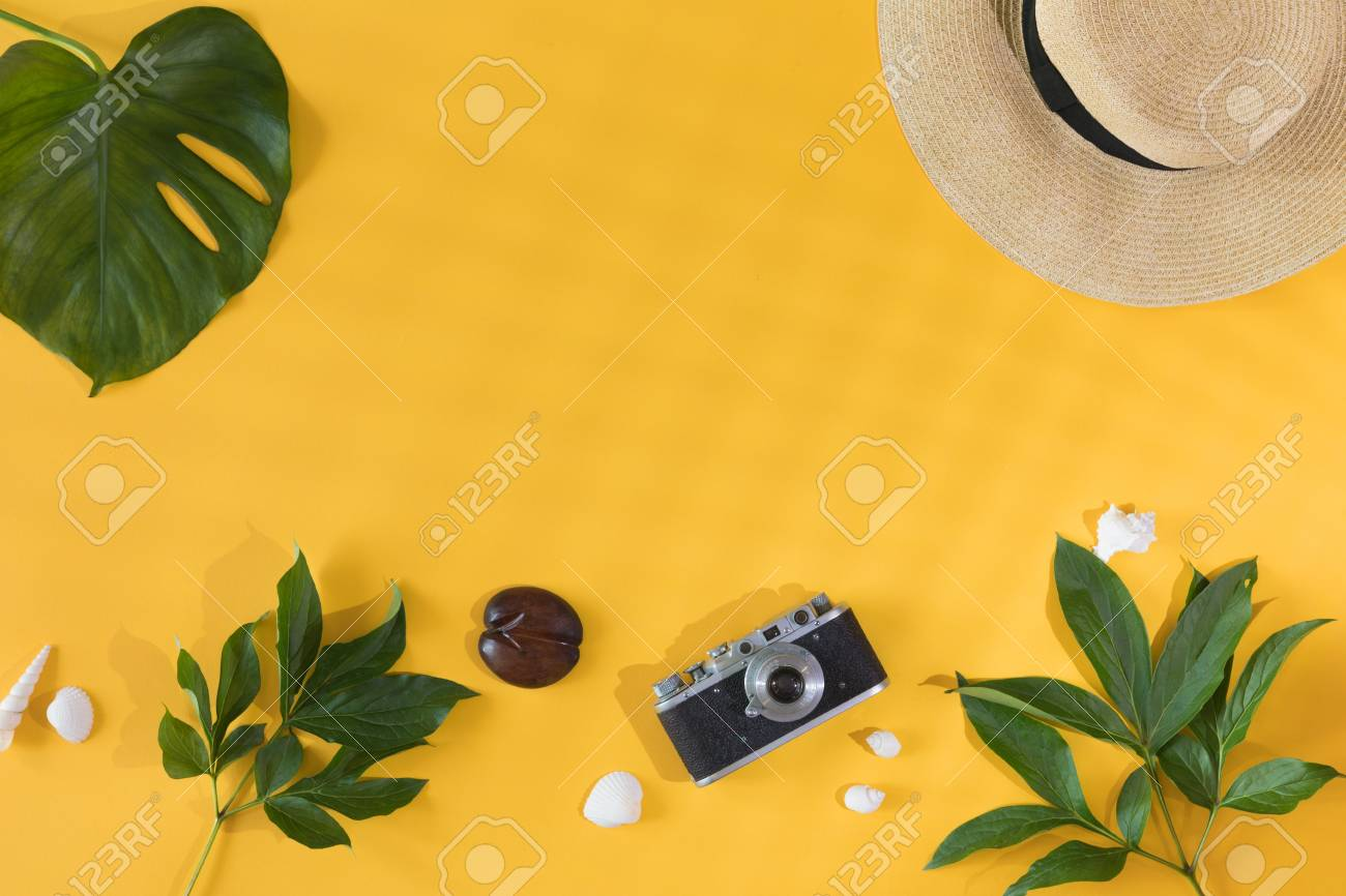 Flat Lay Design Of Yellow Background With Laptop Photo Camera Stock Photo Picture And Royalty Free Image Image 104287458 20934 tropical leaves wallpaper pbr texture seamless demo note: flat lay design of yellow background with laptop photo camera