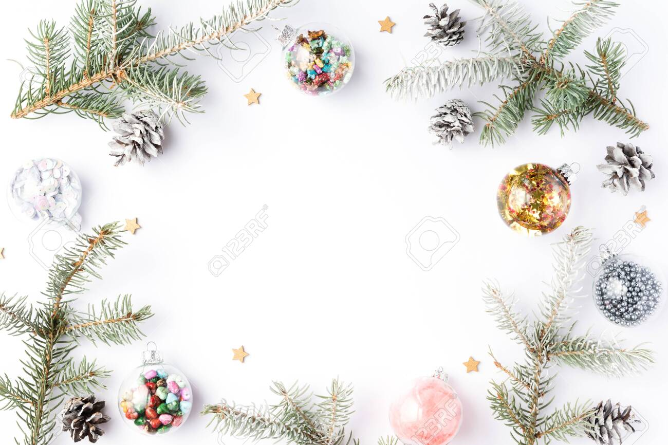 2020 Picture Frame Christmas Ornament Christmas Frame Of Fir Tree Spruce, Gold Christmas Decorations