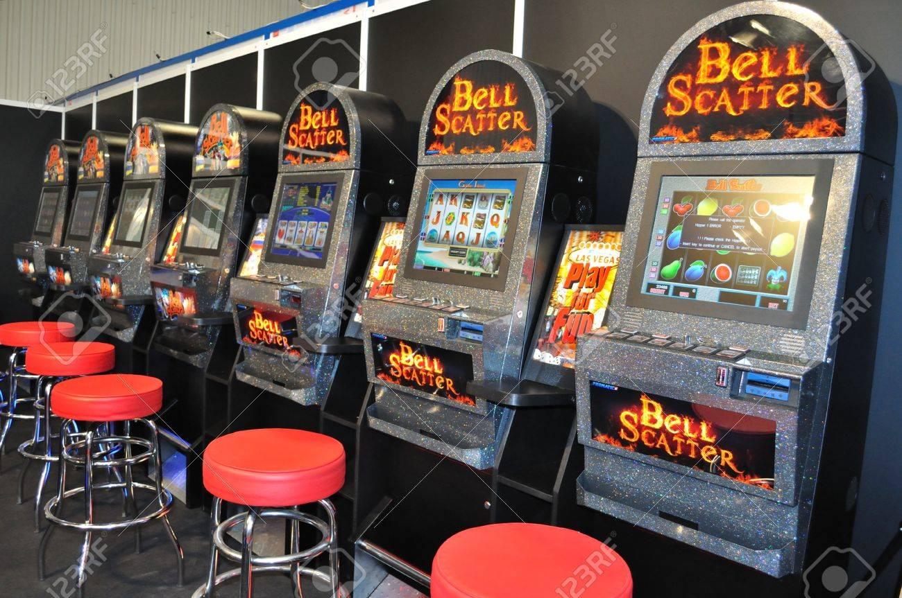 Warsaw, Poland - October 14, 2010 - Gambling machines showcase at the SUREXPO 2010 - Salon of Entertainment Devices. Stock Photo - 9789493