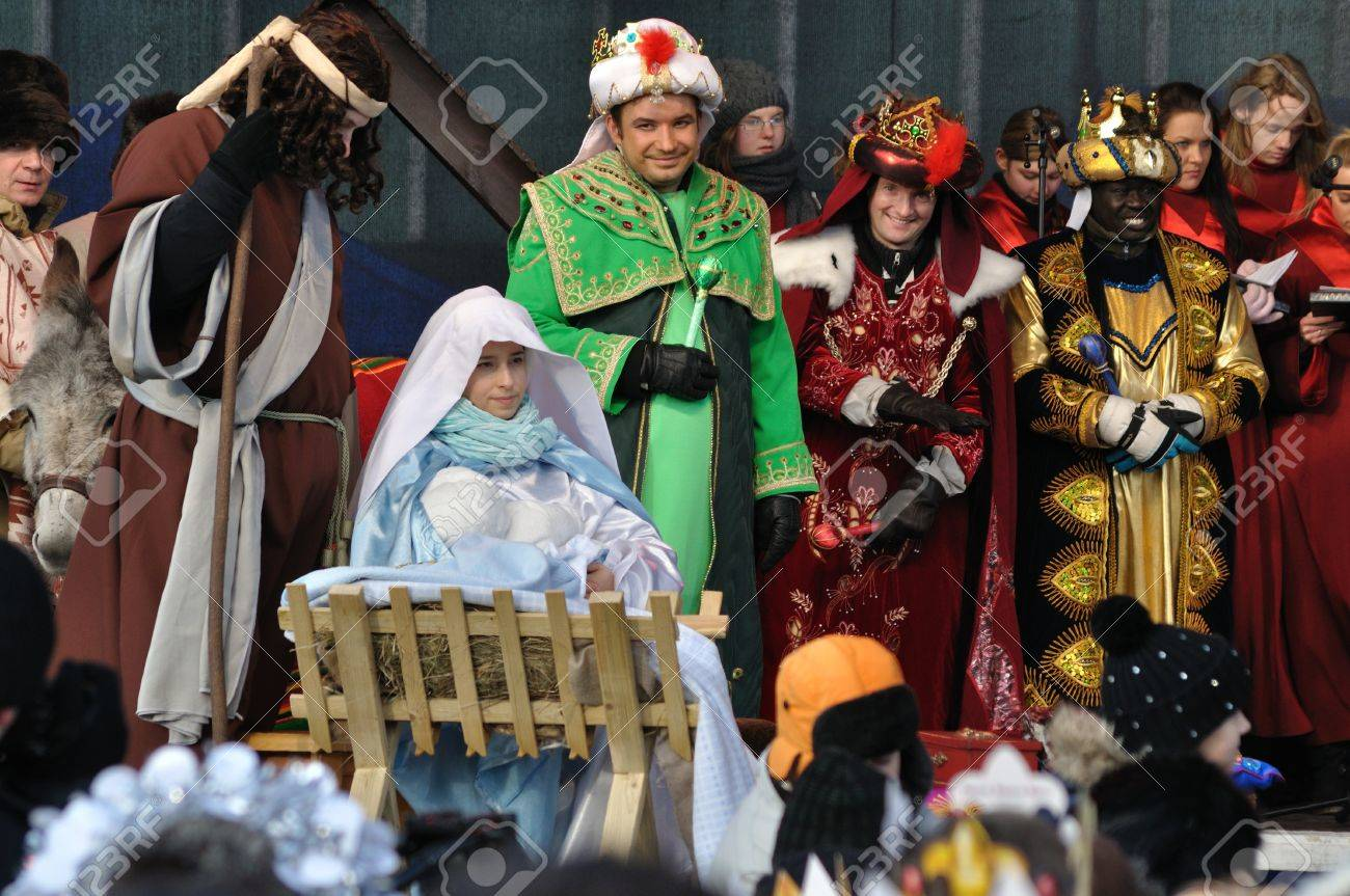 Warsaw, Poland - January 06, 2011 - Reenactment Nativity scene of Adoration of the Magi during the annual Three Kings Day Parade. Stock Photo - 10379459