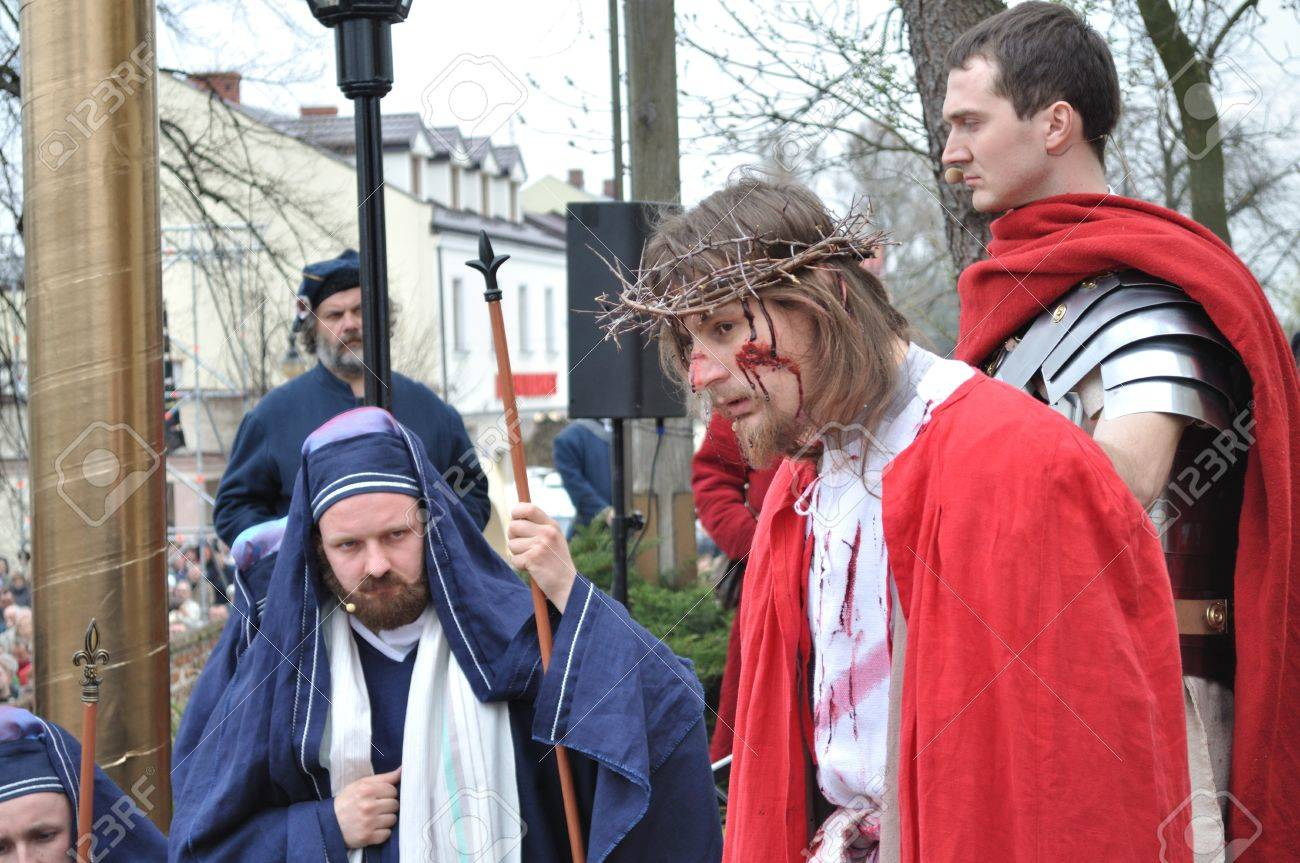 Gora Kalwaria, Poland - April 17, 2011 - Actors reenact the trial of Jesus in praetorium before Pontius Pilate, during the street performances Mystery of the Passion. Stock Photo - 12768470