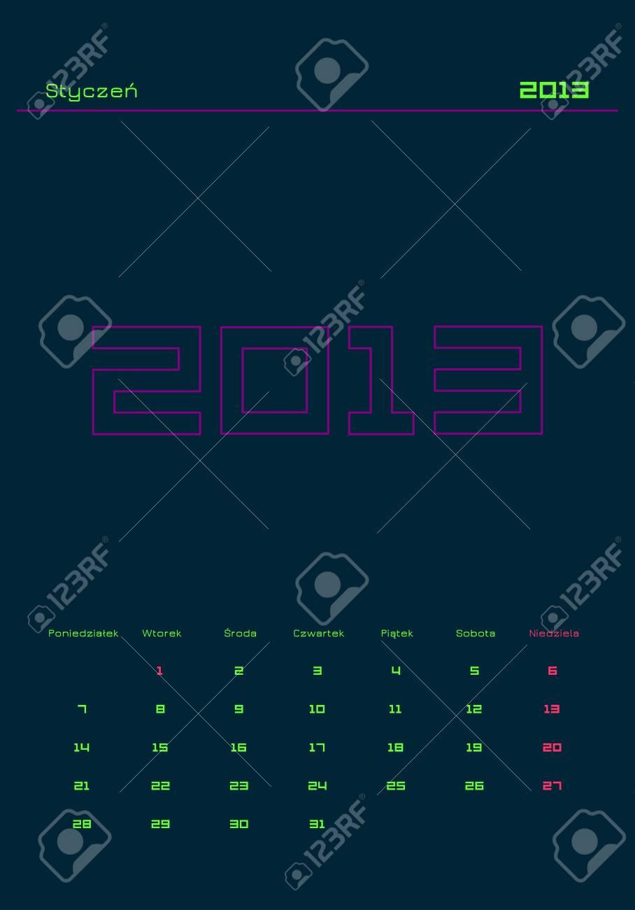 Monthly calendar in Polish - January 2013 Stock Vector - 14600585