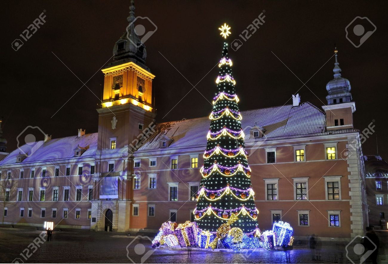 Christmas Tree In Warsaw, Poland Stock Photo, Picture And Royalty ...
