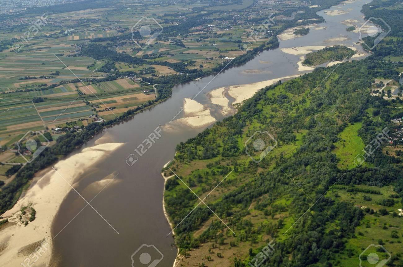 Aerial View - Vistula River Near Warsaw, Poland Stock Photo ...