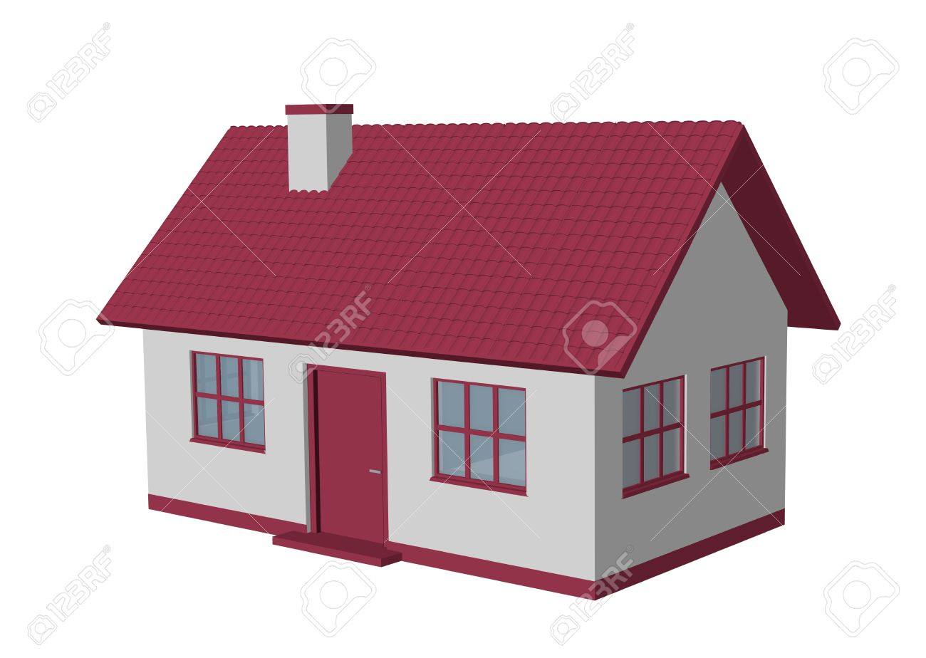 3d Render Simple House Model