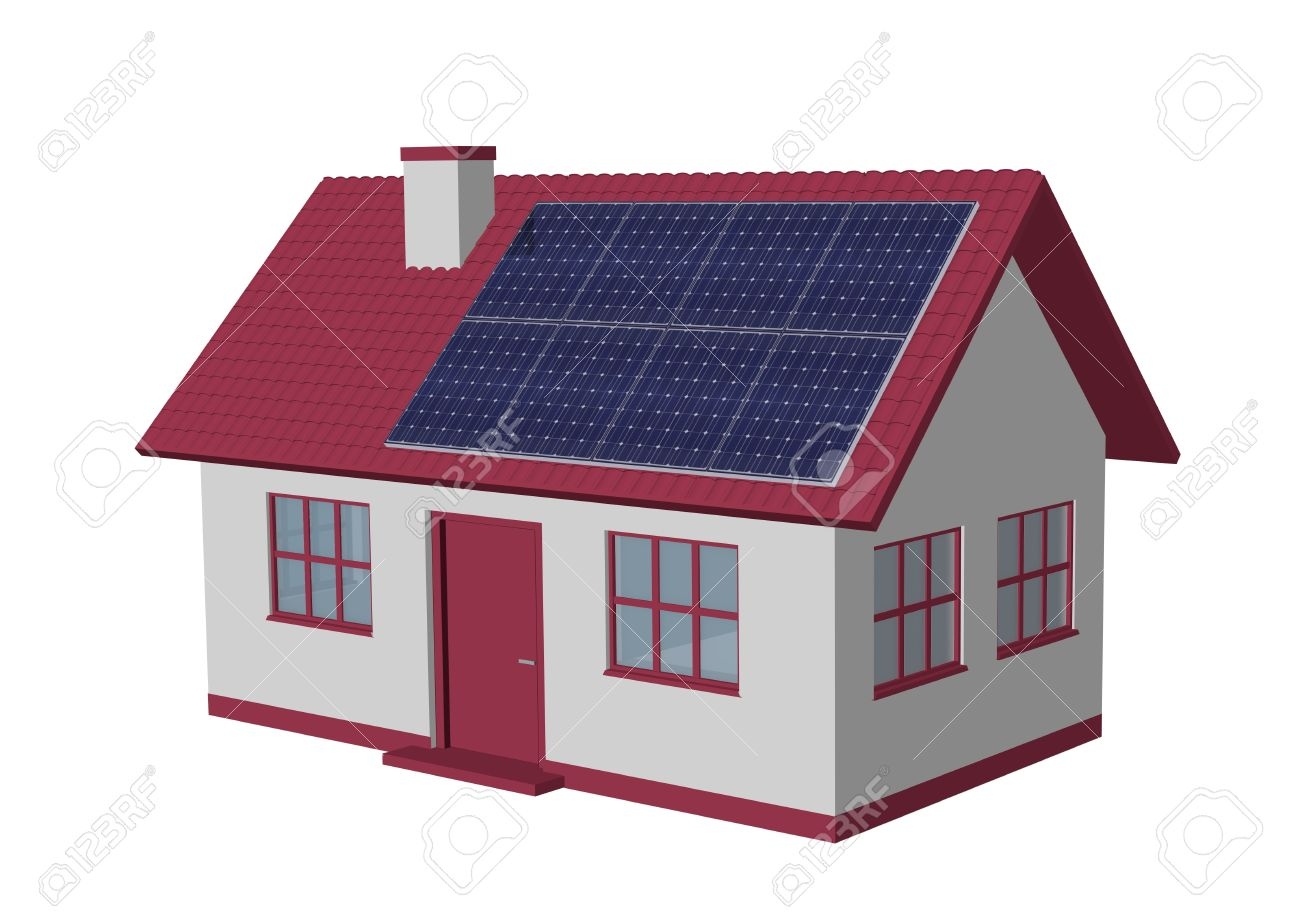 3d render simple house model with solar panels stock photo 29875286