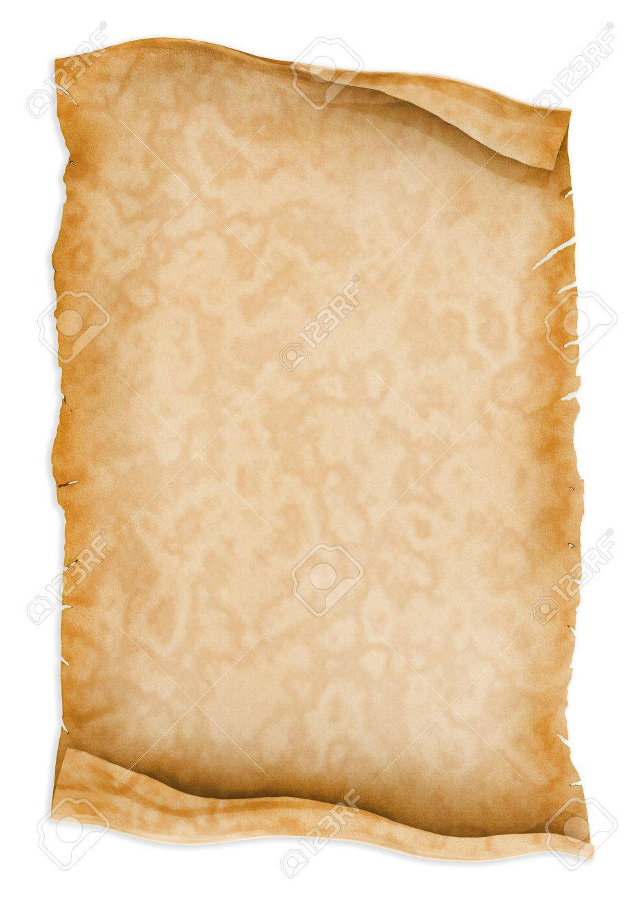 parchment scroll paper isolated on white background stock photo