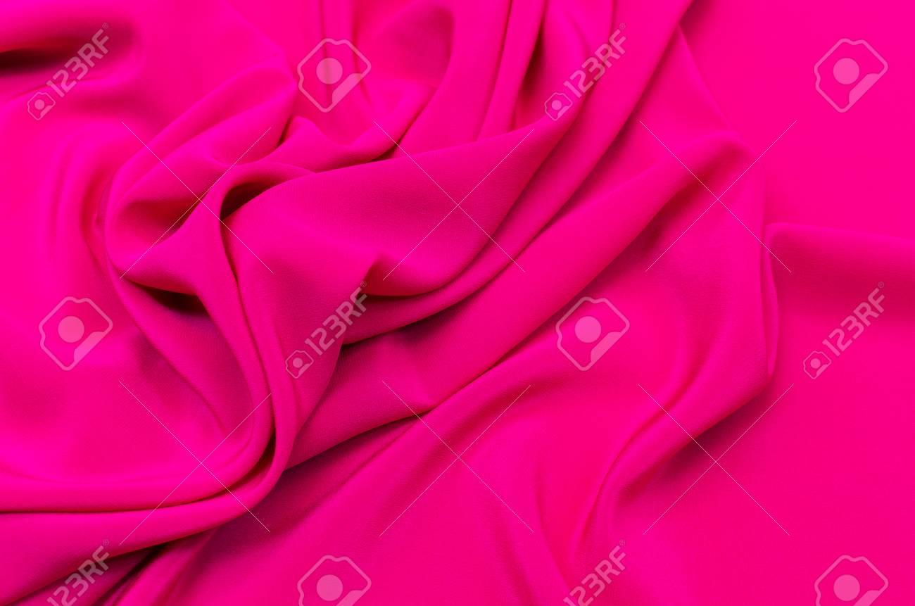 Silk Fabric Crepe De Chine Color Fuchsia Stock Photo Picture And