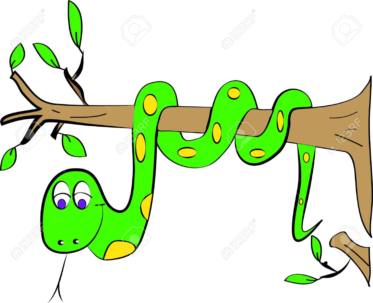 Color Page Snake Tree Royalty Free Cliparts, Vectors, And Stock ...