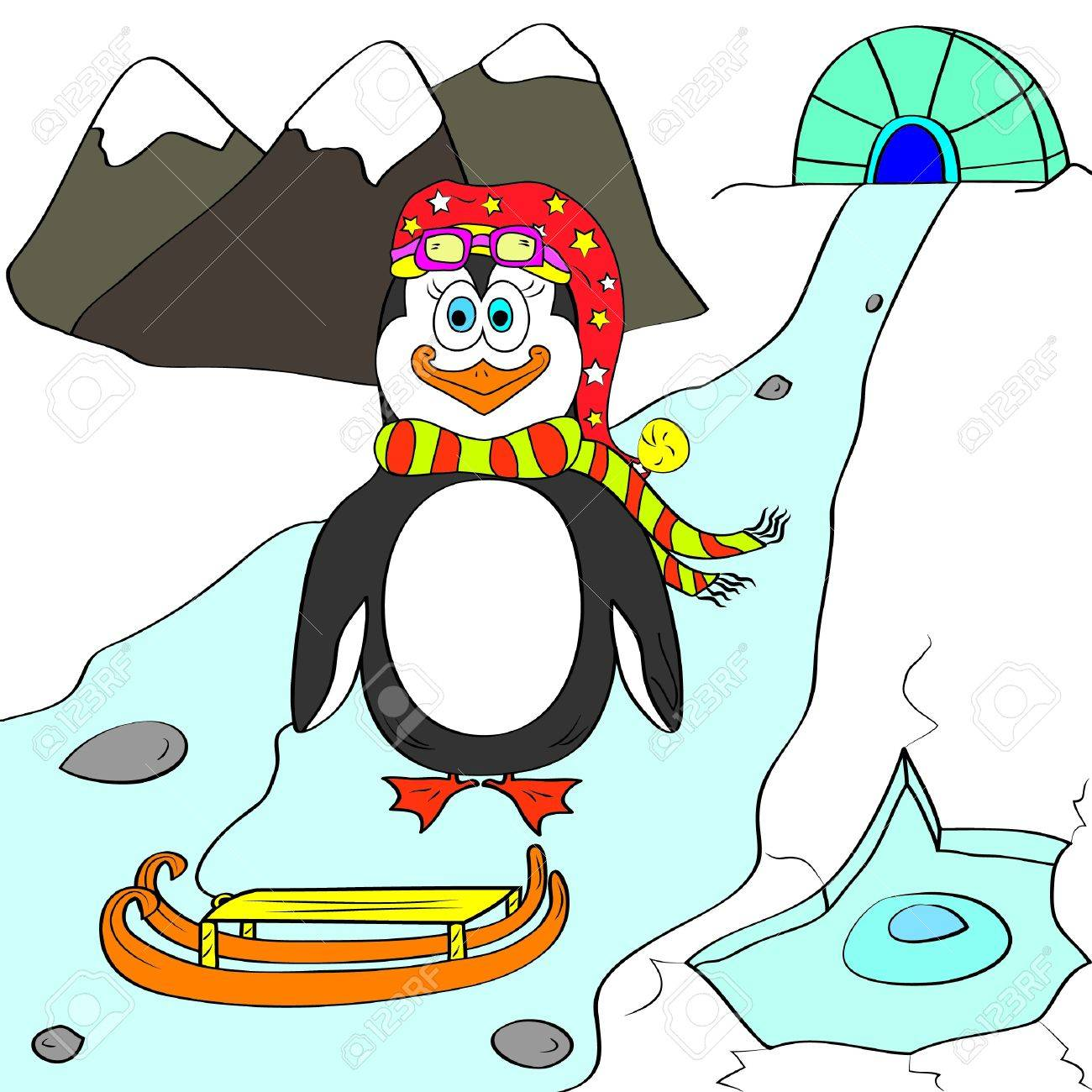 Penguin Color Page Royalty Free Cliparts, Vectors, And Stock ...