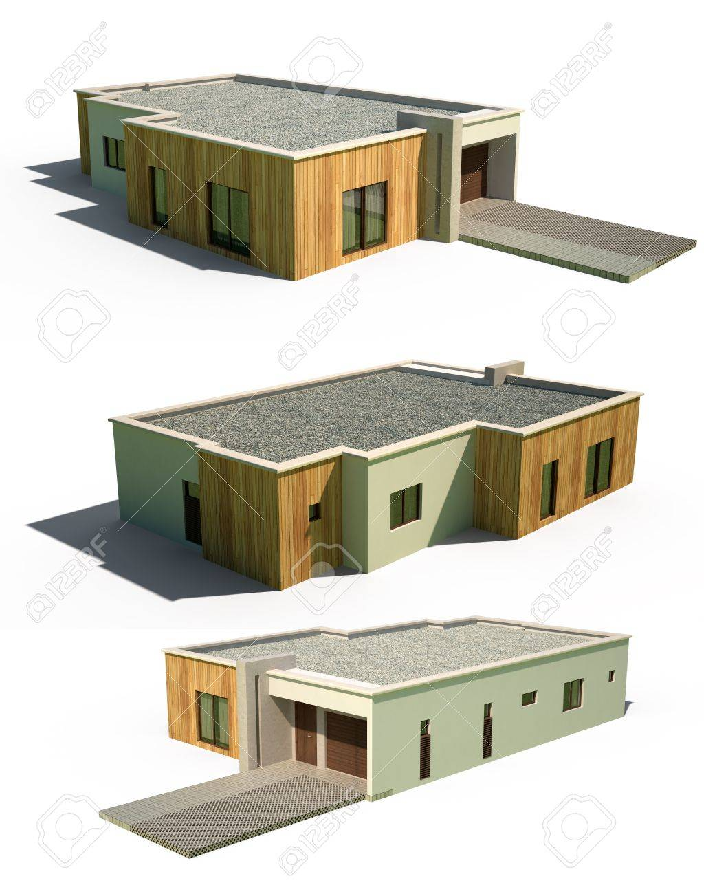 Hausfassade modern  3d Modern Hausfassade Außen Lizenzfreie Fotos, Bilder Und Stock ...