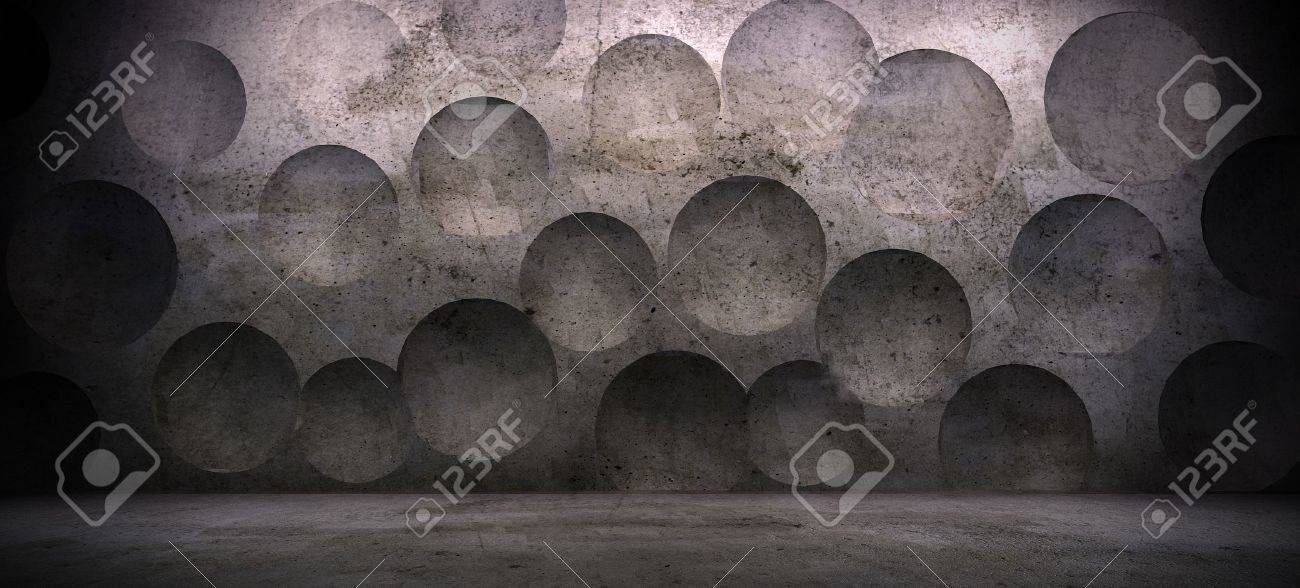 interior scene with concrete wall and sphere effect Stock Photo - 17513852