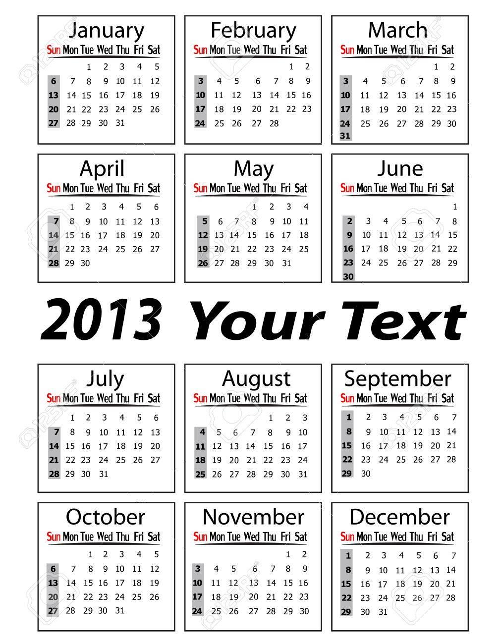 portrait calendar 2013 vector illustration Stock Vector - 19421315