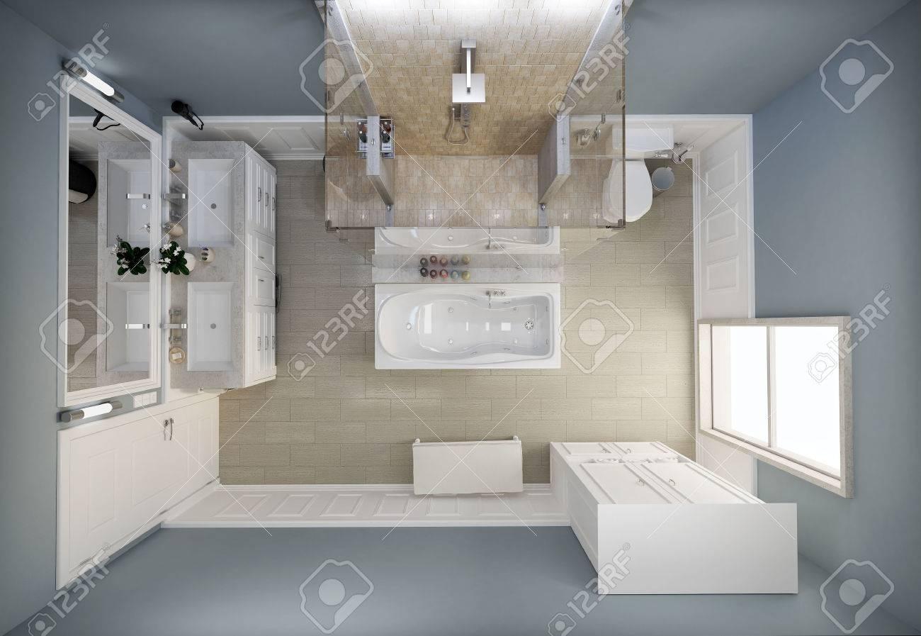 Badezimmer Ansicht Von Oben Grundriss Lizenzfreie Fotos, Bilder ... Badezimmer Von Oben