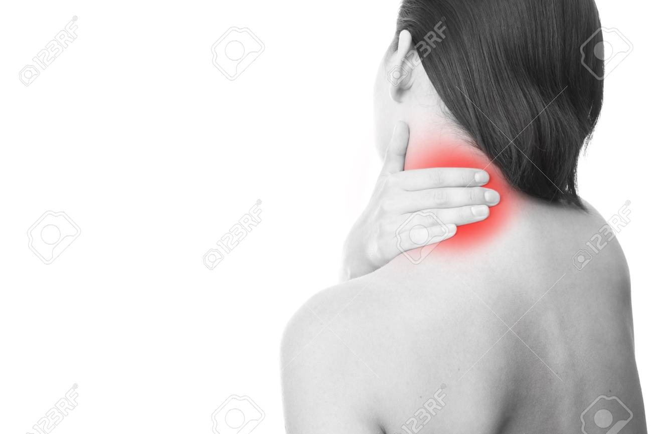 Schmerzen Im Nacken Von Frauen. Durch Berühren Des Halses ...