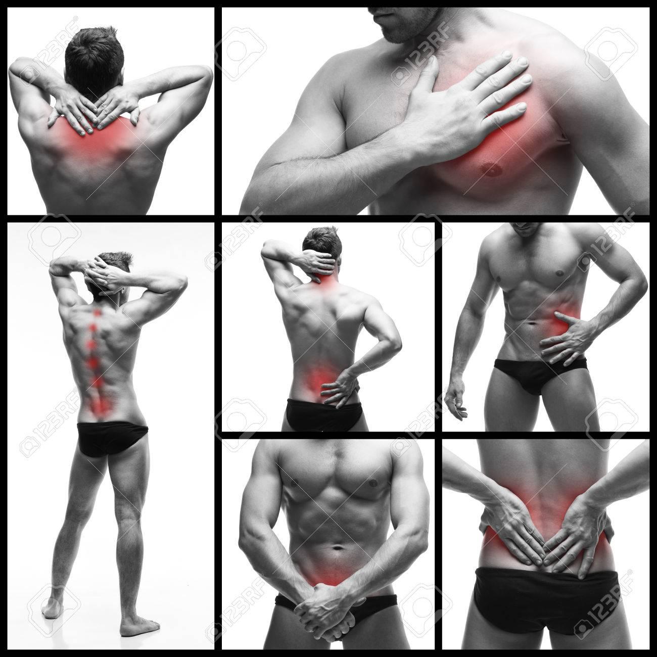 Schmerzen Im Körper Eines Mannes Isoliert Auf Weißem Hintergrund ...