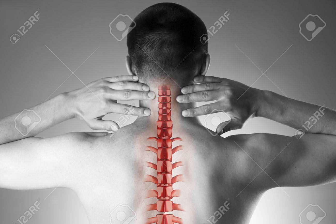 Rückenschmerzen, Ein Mann Mit Rückenschmerzen Und Schmerzen Im ...