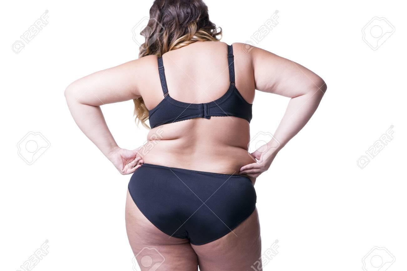 Plus Tamaño De Modelo En Ropa Interior Negro, Cuerpo De La Mujer Con ...