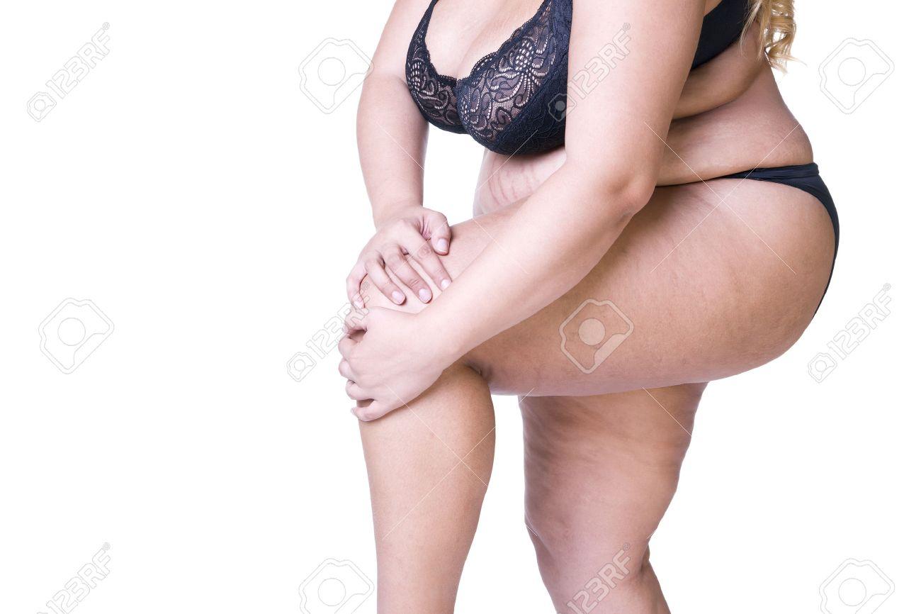elige auténtico gama completa de artículos seleccione para genuino Plus tamaño de modelo en ropa interior negro, cuerpo de la mujer con  sobrepeso, mujer gorda con los muslos gruesos que presentan aisladas sobre  fondo ...